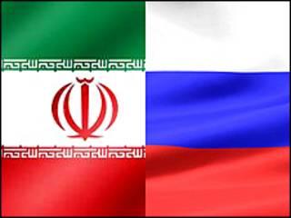 پرچم های ایران و روسیه