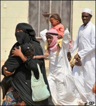 نازحون في منطقة الحدود بين السعودية واليمن