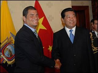 Jia Qinglin (dcha.) y Rafael Correa / Foto: Presidencia de Ecuador