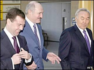 Дмитрий Медведев, Александр Лукашенко и Нурсултан Назарбаев