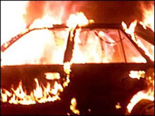 Горящий автомобиль. Фото из архива