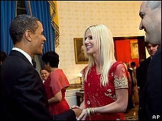 Michelle y Tariq Salahi con Barack Obama