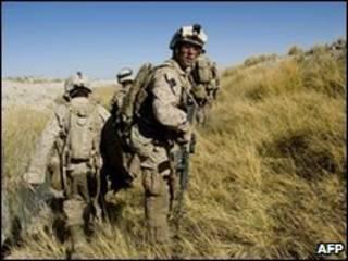 Soldados americanos na província de Helmand, sul do Afeganistão