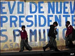 Pintada a favor de Evo Morales en Bolivia.