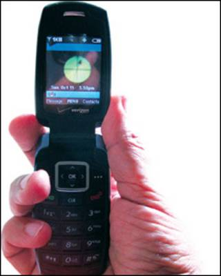 Teléfono con la nueva aplicación (Foto cortesía www.bang.calit2.net)