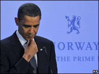 Обама на пресс-конференции в Норвегии