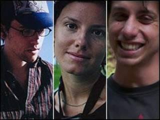 Shane Bauer, Sarah Shourd y Joshua Fattal