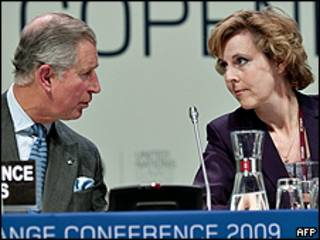 Príncipe Charles (esquerda) e Connie Hedegaard