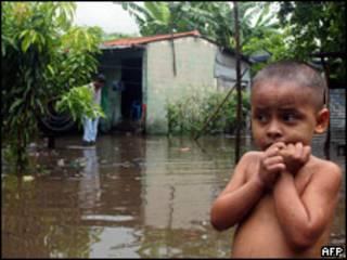 Inundación en El Salvador en 2005.