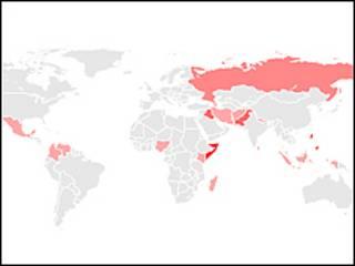 تبين خريطة المنظمة اخطر بلدان العالم على الصحفيين