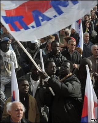 Trabajadores extranjeros en las protestas