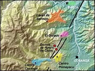 Mapa de zona volcánica (cortesía Minard Hall)