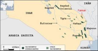Pozos petroleros en el sudeste de Irak