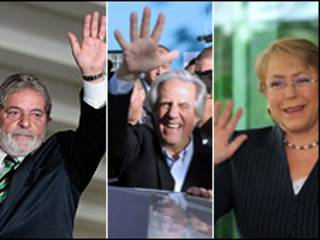 Lula da Silva, presidente de Brasil, Tabaré Vázquz, presidente de Uruguay y Michelle Bachelet, presidenta de Chile