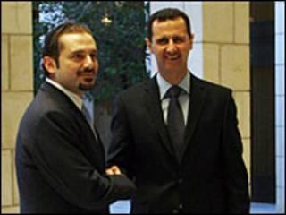 بشار اسد(راست) و سعد حریری