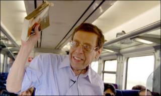 Professor Isaiah Gafni durante palestra no trem