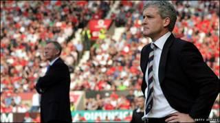 Hughes and Alex Ferguson
