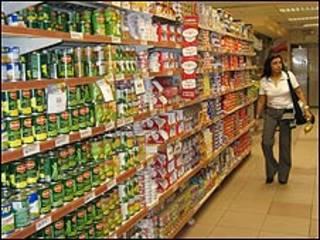 Ama de casa en un supermercado.