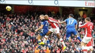 Leon Osman circled by Arsenal players