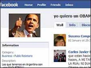 """Detalle del sitio """"Yo quiero un Obama"""" en Facebook"""