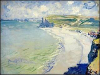 """Фрагмент полотна Моне """"Пляж у Пурвілі"""""""