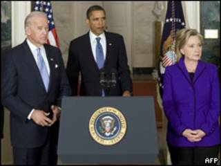 Robert Gates, secretario de Defensa de EE.UU.; Barack Obama, presidente de EE.UU., y Hillary Clinton, secretaria de Estado