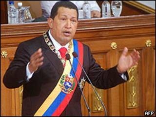 Presidente venezuelano Hugo Chávez