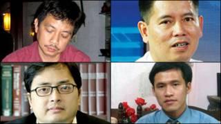 Hàng trên từ trái: Trần Huỳnh Duy Thức, Lê Thăng Long; Hàng dưới: Lê Công Định, Nguyễn Tiến Trung