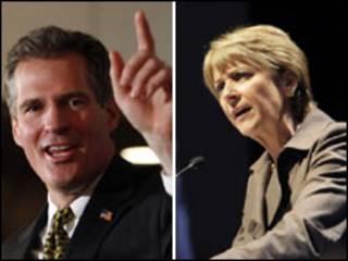 Candidato republicano Scott Brown y aspirante demócrata Martha Coakley