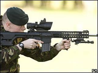 Demonstração do rifle Sharpshooter
