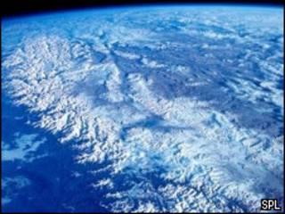 Imagen satelital de los Himalayas
