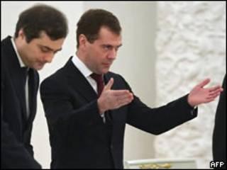 Владислав Сурков, Дмитрий Медведев на заседании Госсовета 23.12.2009