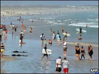 Praia de Muizenberg, na Cidade do Cabo