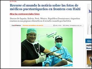 Captura del diario El Nuevo Día sobre imágenes de médicos puertoriqueños en Santo Domingo