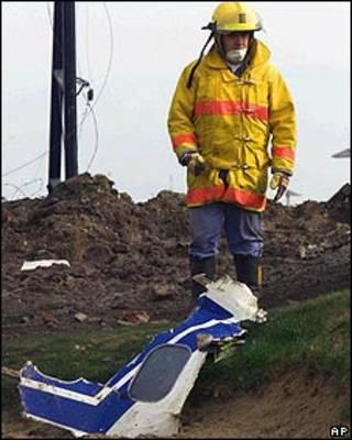 Restos del avión de LAPA, estrellado en Argentina en 1999