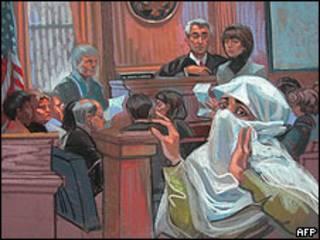 Dibujo del juicio contra Aafia Siddiqui