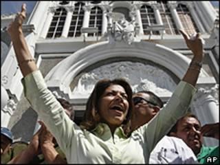 Laura Chinchilla, candidata a presidente, en acto político en Costa Rica