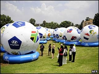 Balones gigantes en Johannesburgo