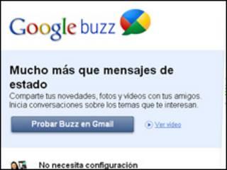 Página de inicio de Google Buzz