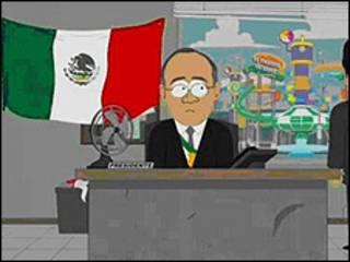 Caricatura con los rasgos de Felipe Calderón.
