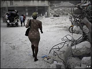 Barrio destruido en Puerto Príncipe.
