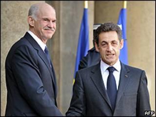 George Papandreou y Nicolas Sarkozy.