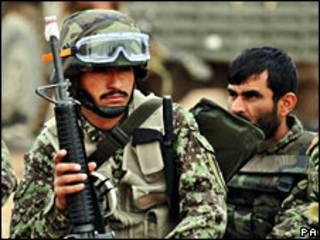 Афганские военнослужащие в провинции Гильменд 9 февраля 2010 г.