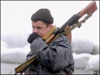 Российский военнослужащий в Ингушетии