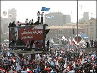 Manifestación en la capital del Líbano