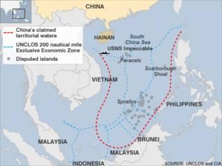 Đường đỏ đánh dấu yêu sách chủ quyền của Trung Quốc