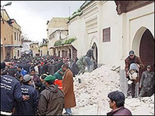 Acidente em mesquita em Meknes. Foto AFP