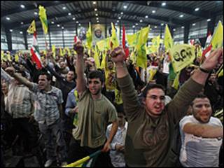 Seguidores de Hezbolá en Beirut