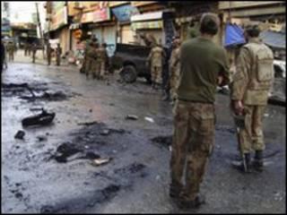 مكان التفجير في مينجورا بسوات في باكستان