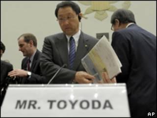 El presidente de la empresa automotriz japonesa Toyota, Akio Toyoda, en EE.UU.